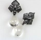 """""""Delfin"""" Ohrringe, groß,   925/- Sterling Silber, geschwärzt Weißer Bergkristall"""