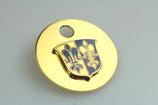 """""""Fugger - Anhänger"""", Wappen auf Scheibe, Blaues Emaille, Messing, vergoldet"""