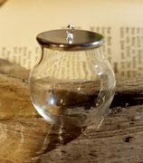 Bastelset Glasperle mit silberfarbener Abdeckung zum Befüllen 30 mm
