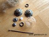 Bastelset Glasperle mit Mondstein zum Befüllen mit Blumen, Federn, etc. 16 mm