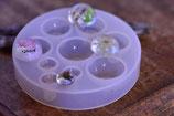 Silikonform zum giessen von 12, 20 und 25 mm Cabochons