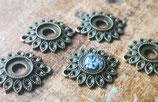 Cabochonfassung Blume - Verbinder (bronzefarben für 10mm), hinten offen, 5 Stück