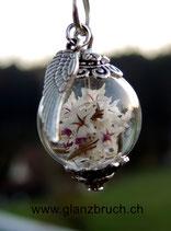 Staticenblüten in einer Glasperle - silberfarben - 16 mm - mit Flügelanhänger