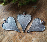Metallfassung Herz, 3 Stück