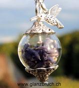 Lavendel in Glasperle - silberfarben - 20mm - Kolibri
