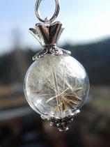 Pusteblumenschirmchen in einer Glasperle mit Krönchen - silberfarben - 16mm