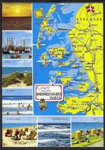 AK Landkarte Nordfriesische Inseln Mehrbild    q2
