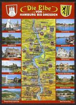 AK Landkarte Die Elbe von Hamburg bis Dresden    q4