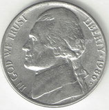 Kursmünze USA FIVE CENTS von 1986 D  2x