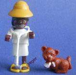 Faszinierendes Afrika von 1995  -Variante - Tierärztin mit Löwenbaby dunkel  635545   2x