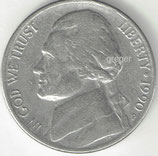 Kursmünze USA FIVE CENTS von 1990 P  4x