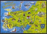AK Landkarte Ferienland Halbinsel Eiderstedt    q12