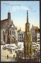 AK D. Reich post. gelaufen Nürnberg, Schöner Brunnen u. Frauenkirche   32/17