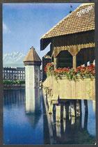 AK Luzern, Kapellbrücke mit Wasserturm und Pilatus      52/4