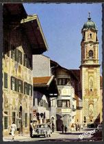 AK Mittenwald Dorfstrasse mit Neuenerhaus und Pfarrkirche   48/19