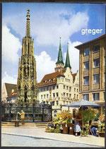 AK Nürnberg, schöner Brunnen und Kirche    80p