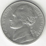 Kursmünze USA FIVE CENTS von 1992 P  1x