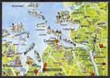 AK Landkarte Die Nordseeküste    q19