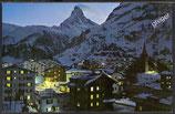 AK Zermatt mit Matterhorn bei Nacht    z32