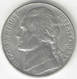 Kursmünze USA FIVE CENTS von 1993 P    1x