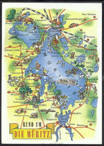 AK Landkarte DDR Rund um die Müritz    q27