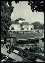 AK Saarbrücken, Blick vom Schlossgarten zum Stadttheater   68/42