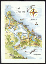 AK Landkarte DDR Insel Usedom    q24
