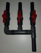 Fach Verteiler PVC 19mm mit Kugelhahn 3-Fach