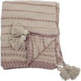 Kuscheldecke Vitas gemustert, recycelte Baumwolle, beige/rosa 160x130 cm