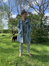 Froeken Frida -Kapuzen Fleece Mantel, jeansblau meliert