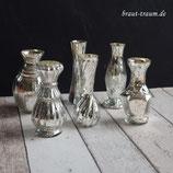 6er Set Vasen, silber, antik