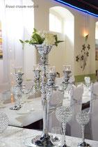 Tischleuchter silber 75 cm, mit Flowerbowl, Mietartikel, Verleihpreis!