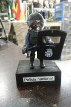 PLAYMOBIL CUSTOMIZADO Nº 9P  POLICIA NACIONAL ANTIDISTURBIOS CON PEANA DE MADERA