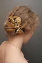 Kopfschmuck Perlenblüten gold