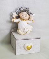 8  Angeli su cassetto con albero della vita in resina smaltata Cm 6x6,1x9,8