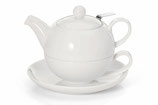 "Tea for one Set ""Bianco"", mit Edelstahlsieb"