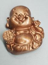 """Kühlschrankmagnet """"Lachender Buddha"""" (mit Tamburin) mit Spruchkarte"""