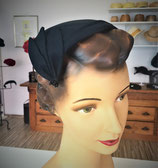 Half Hat schwarz aus Leinen, 50s Style