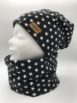 Beanie & Loop ANTHRAZIT & LITTLE white STARS