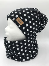 Beanie & Loop BLACK & LITTLE white STARS