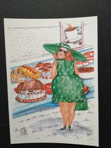 """Postkarte aus der Serie """"Die kleine Madame reist"""" Motiv 3"""