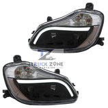 Kenworth T680 Headlamp Black Housing with LED Stripe