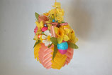 Handcrafted Easter Ornament - yellow/pink