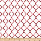Quatrefoil weiß/rot