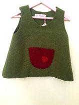 Kinderkleid aus Walkloden, grün mit Tasche