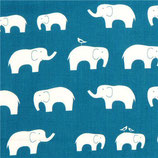 BIO-BW Birch Fabrics Elefanten petrol