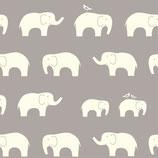 BIO-BW Birch Fabrics Elefanten grau