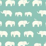 BIO-BW Birch Fabrics Elefanten aqua