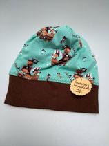 Mütze aus Jersey gefüttert mit Faserpelz