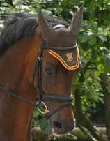 Mattes Ohrenkappen mit Stoffeinsatz mit Mattes-Logo bestickt